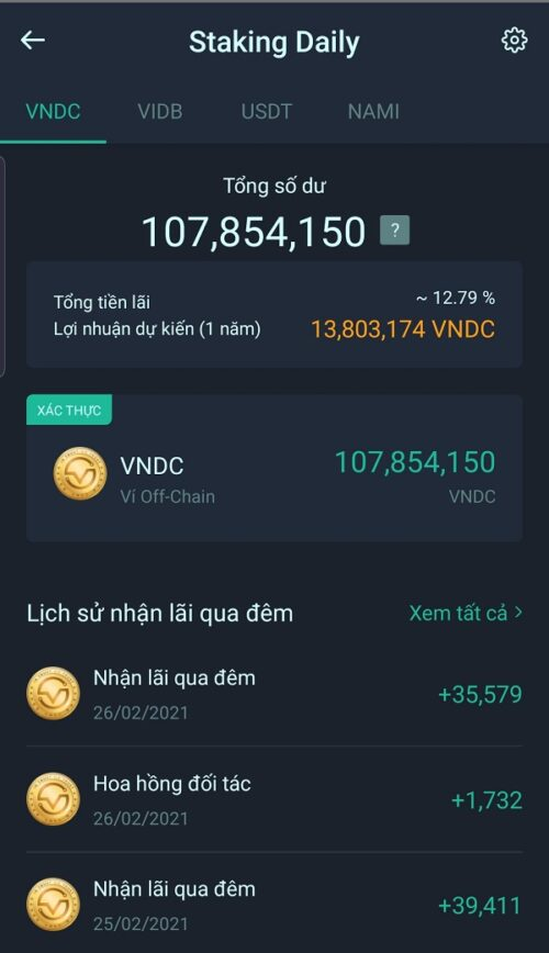 staking daily vndc