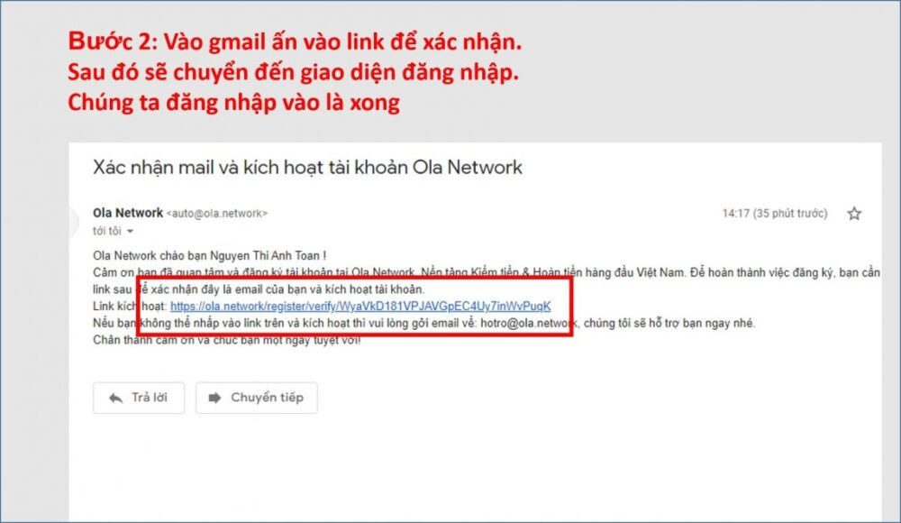 xác nhận gmail ola city