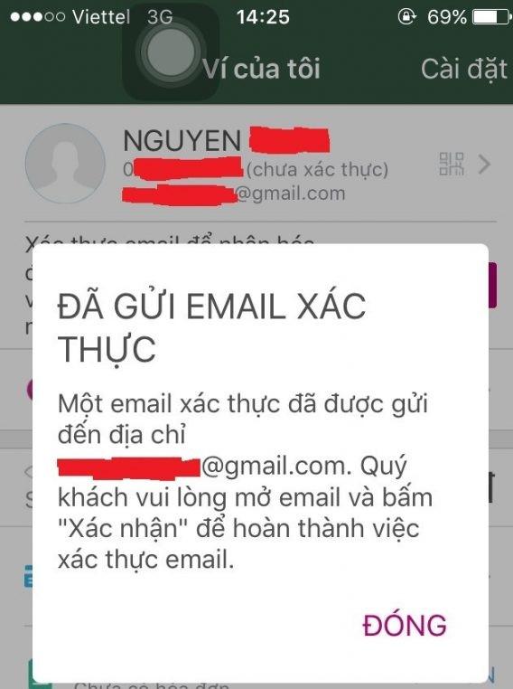 Xác thực địa chỉ email momo