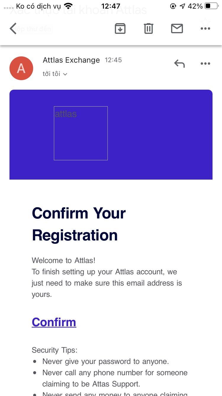 Nhấn confirm để xác minh email