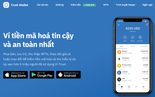 Giao diện của Trust wallet