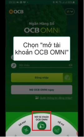 Click chọn mở tài khoản OCB OMNI