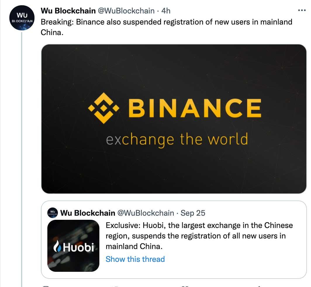 Binance đã tạm dừng đăng ký tài khoản tại Trung Quốc - Nguồn: Wu Blockchain