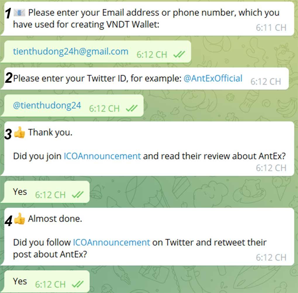 trả lời câu hỏi nhận Airdrop ANTEX