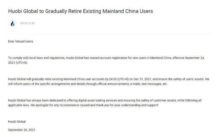 Văn bản của Huobi chính thức cấm người dùng tại Trung Quốc - Nguồn: Huobi.com